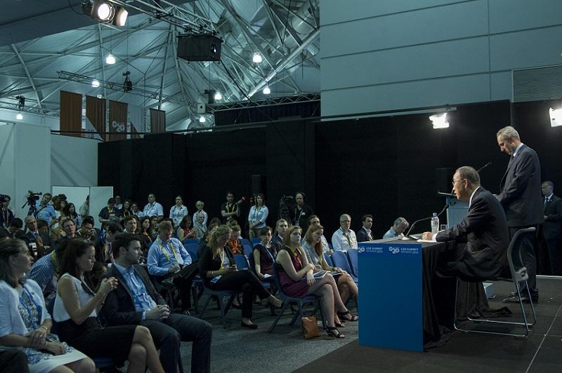 Secretary-General Briefs Press at 2014 G20 Summit, Brisbane