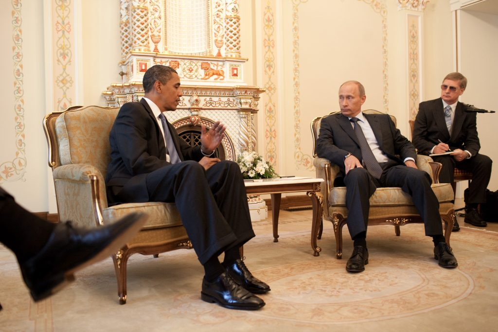 President Barack Obama meets with Prime Minister Vladimir Putin at his dacha outside Moscow, Russia, July 7, 2009.   (Official White House Photo by Pete Souza)This official White House photograph is being made available for publication by news organizations and/or for personal use printing by the subject(s) of the photograph. The photograph may not be manipulated in any way or used in materials, advertisements, products, or promotions that in any way suggest approval or endorsement of the President, the First Family, or the White House.