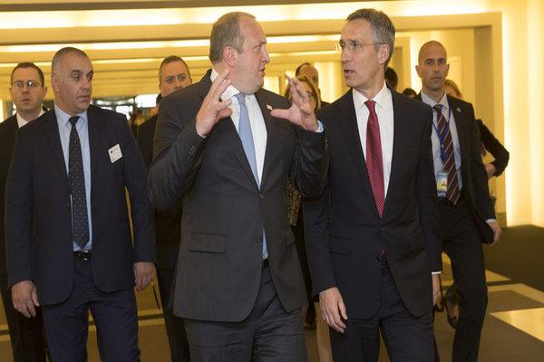 NATO Secretary General Jens Stoltenberg and the President of Georgia, Giorgi Margvelashvili